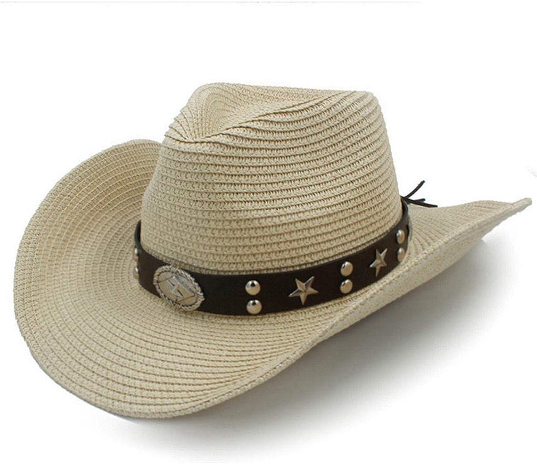 August Jim Mens Western Cowboy Hats Outdoor Summer Sombrero Beach Sun Cap Unisex