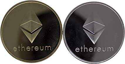 Ethereum ETH Coins, Set of 2 - Gold and Silver Physical Blockchain Cryptocurrency in Protective Collectable Gift Case, Crafted with Fine Detail and Mirrored Finish