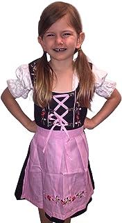 Dirndl World Childrens Dik01-07, German Bavarian 3 Piece Children Dirndl Dress for Oktoberfest, Blouse, Apron, Sizes 3T-15