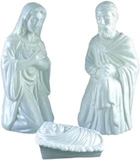 Holiday 3 Piece White Nativity Set Lighted Blow Mold Outdoor Indoor Christmas Yard Art Decor