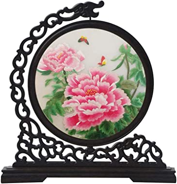 SXYD Desktop Home Decoration Screen Handmade Double Sided Embroidery Pink Peony Flower Screen Chinese Style Wooden Art Decoration