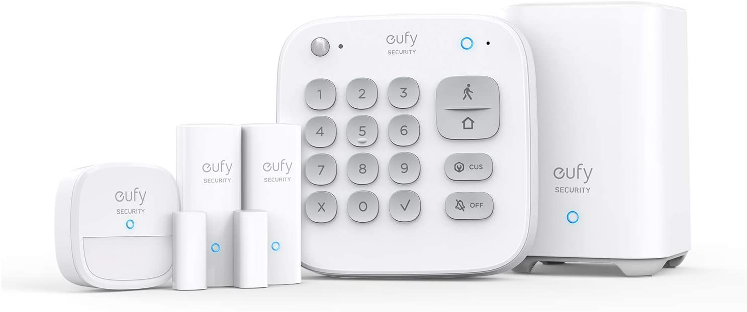 eufy Security 5-Piece Home Alarm Kit, Home Security System, Keypad, Motion Sensor, 2 Entry Sensors, Home Alarm System, Control from The App, Links with eufyCam, Optional 24/7 Protection Service