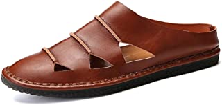 Men Slippers Summer Hollow Slippers Fashion Outdoor Breathable Casual Slides Beach Sandal Soft Leather Flats Sandals
