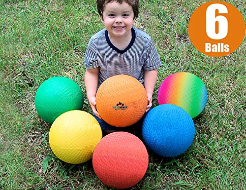Premium Playground Balls 8.5 inch, Best Kickball Dodgeball for Kids and Adults - Official Size for Dodge Ball, Handball, Square Game, Camps, Picnic, Church & School + Free Pump & Mesh Bag (Pack of 6)