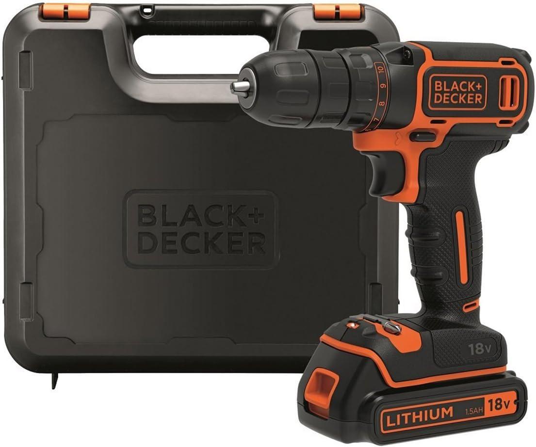 BLACK+DECKER BDCDC18K-QW - Taladro atornillador 18V, 30 Nm, con batería de litio 1.5Ah y maletín