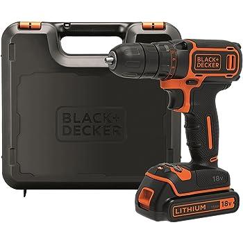 BLACK+DECKER BDCDC18K-QW Perceuse visseuse sans fil - Chargeur inclus - Livrée en coffret - Compacte et légère, 18V, Coffret, 1 batterie