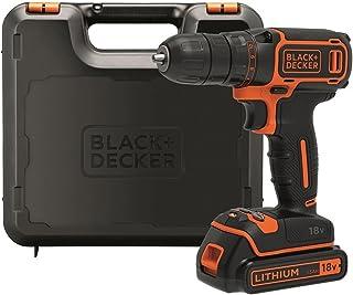 BLACK+DECKER BDCDC18K-QW Perceuse visseuse sans fil - Chargeur inclus - Livrée en coffret - Compacte et légère, 18V, Coffr...