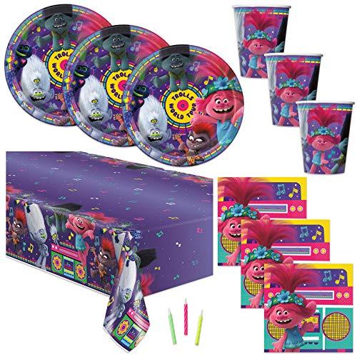 Suministros para fiesta de cumpleaños con temática de Trolls – Sirve 16 – Mantel de mesa, platos, vasos, servilletas, velas