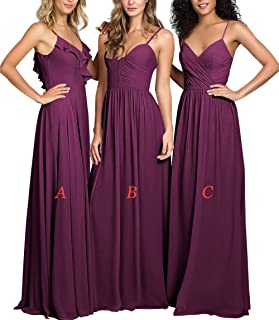 Sweetheart Bridesmaid Dresses Long Chiffon Prom Evening Gowns Maxi Wedding Party Dress