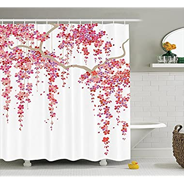 Ambesonne House Decor Collection, Cherry Blossom Trees Branch Springtime Happy Vacation Traveling Destinations Image, Polyester Fabric Bathroom Shower Curtain, 75 Inches Long, Lilac Salmon Coral