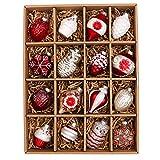 Valery Madelyn Natale Baubles di Natale in Vetro, 16 Pezzi 5,5-8 Cm Ornamenti di Palline di Natale Rosse e Bianche per Decorazioni per Alberi di Natale (Tradizionali)