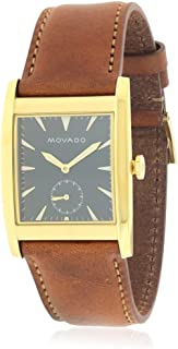 Movado Men's Heritage Brown Leather Band Steel Case Sapphire Crystal Swiss Quartz Blue Dial Watch 3650043