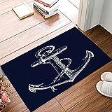 White Nautical Anchor Navy Blue Door Mats Cover Non-Slip Machine Washable Indoor Bathroom Kitchen Decor Rug Mat Welcome Doormat 18x30inch