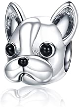 Linorui S925 Sterling Silver Bulldog Bead Charms Puppy Dog Animal Vintage Charms Fit European Snake Chain Bracelet and Necklace