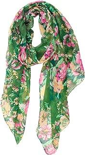 LIOOBO Women Chiffon Scarf Floral Pattern Silk Scarf Fashion Lightweight Head Wrap Bandana Sunscreen Shawls for Ladies Girls (Green)