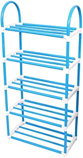 Cloudeal l 5 Layer Fibre Mixed Foldable Shoe Rack Simple Standing Home Organizer (Pack of 1) (Blue Color)