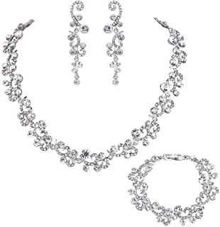 EVER FAITH Women's Austrian Crystal Elegant Wedding Flower Wave Necklace Earrings Bracelet Set