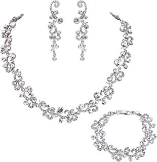 EVER FAITH Women's Austrian Crystal Elegant Wedding Flower Wave Necklace Earrings Bracelet Set