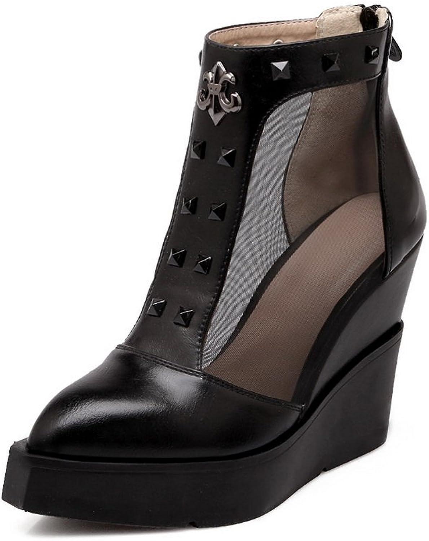 BalaMasa Ladies Back Zipper Metal Ornament Platform Imitated Leather Boots