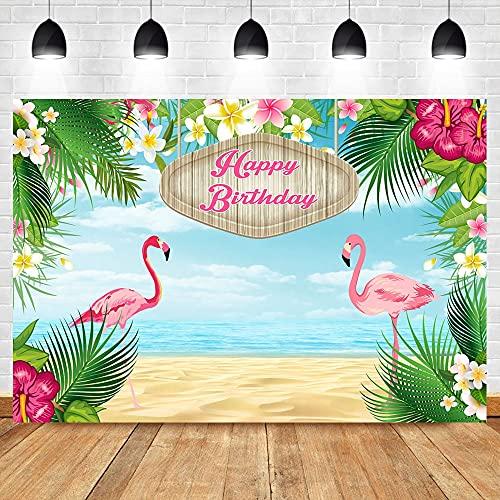 Fondos de fotografía de Fiesta de cumpleaños de Flamenco Fondo de Planta Verde Floral de Playa de Verano para Foto A1 10x10ft / 3x3m
