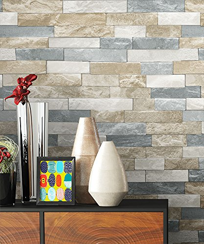 Newroom Beige Woven Slate Grey Cream Stone Design Fun Modern Elegant 3D Look with Stone Stone Wallpaper Guide