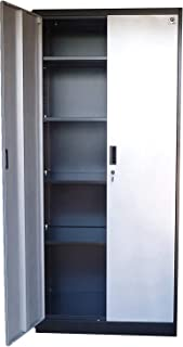 "Storage Cabinets with Doors and Shelves - 71"" Tall, Lockable Metal Cabinet, 5 Adjustable Shelves for Tools - Sturdy Utility Locker for Garage, Kitchen Pantry, Office, Patio (Silver Doors)"