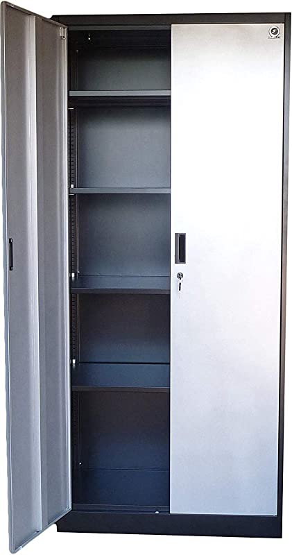 Steel Storage Cabinet 71 Tall Lockable Doors And Adjustable Shelves Metal Locker For Garage Office Kitchen Laundry Room Silver Doors
