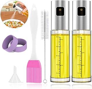 WD&CD 2 Pack Pulverizador de Aceite para Cocina Botella de Vidrio de Grado alimenticio, Dispensador de Aerosol de vinagre y Niebla para cocinar para cocinar/Ensalada/Hornear Pan/BBQ/Cocina