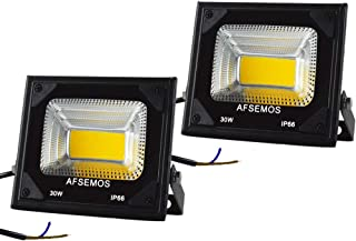 AFSEMOS 30W Outdoor LED Low Voltage Warm White Floodlight, 12V DC Outdoor LED Security Flood Light, IP66 Waterproof Super Bright Work Light for Backyard, Lawn, Street Guardrail (2 Pack)