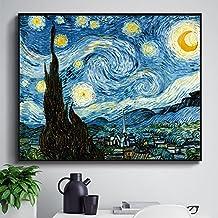 Paintsh Moon and Stars Van Gogh Simple Modern Decorative Paintings Living Room Wall Paintings Sofa Background Wall Painti...