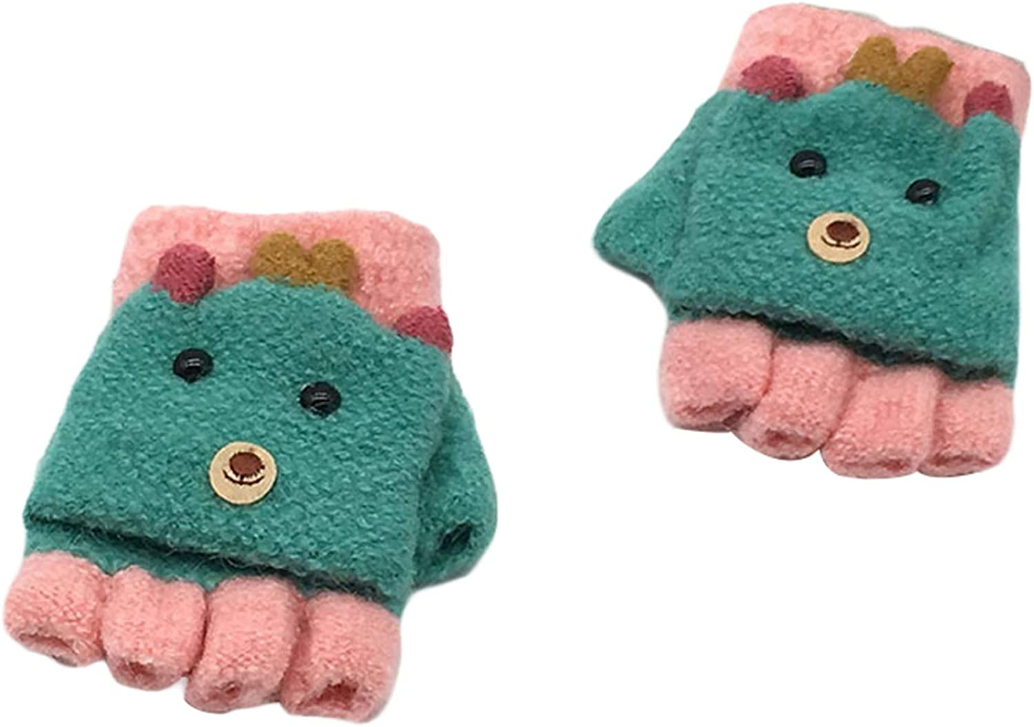 Kids Convertible Mittens, Kitten Thermal Girls Cold Weather Gloves for New Year Holiday Season