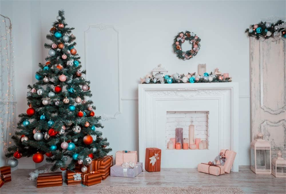 OFILA Christmas Backdrop 9x6ft Polyester Fabric Fireplace Photography Background Xmas Trees Decoration Garland Gifts Kids Christmas Photo Shoot Festival Celebration New Year Background Props