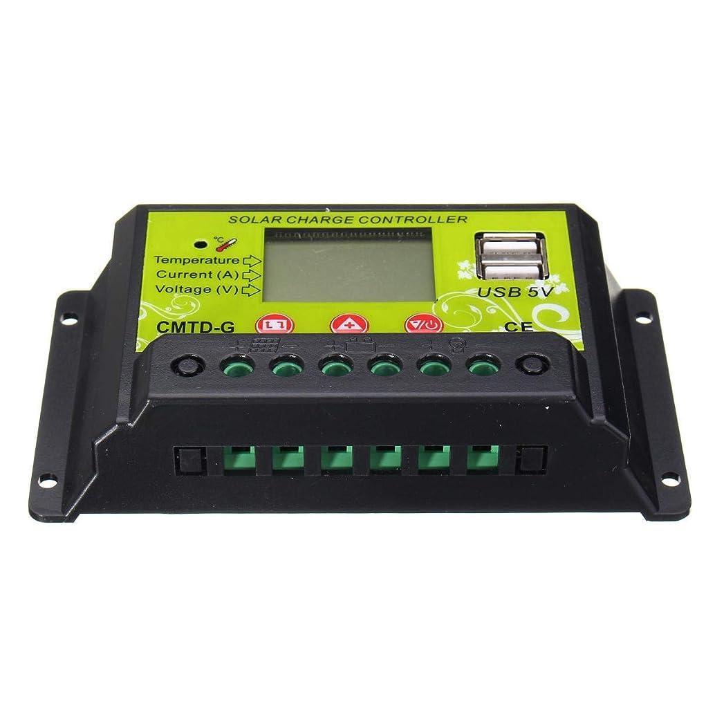 ビジュアルエンジニアリングぼんやりしたBIGKING 10A 12V / 24V用USB LCD PWMソーラー充電コントローラデュアルソーラーパネルバッテリーレギュレータ