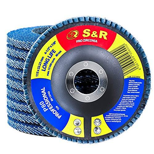 S&R 10 Dischi Abrasivi a Lamelle per Smerigliatrice 115 mm per Acciaio INOX Metallo. Dischi Lamellari Professionali