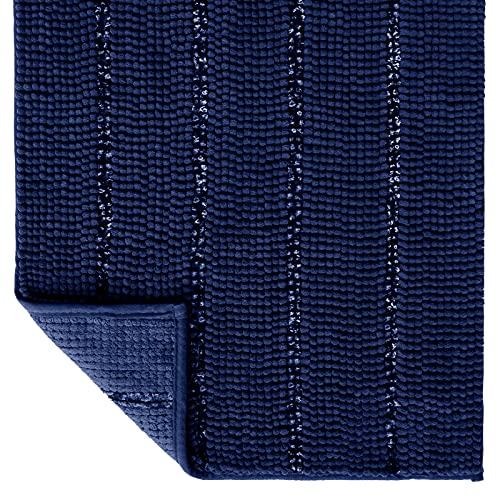 Tayis Tappeto Bagno Antiscivolo Tappetino da Bagno Morbidi Ciniglia Assorbenti Lavabile per Bagno Doccia Cucina, 50x80cm, Blu