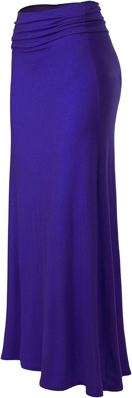 MixMatchy Women's Basic Foldable High Waist Regular and Plus Size Maxi Skirts