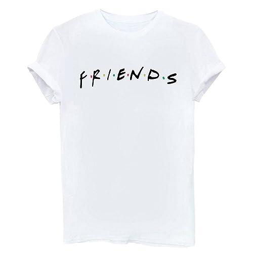 89e7a661b4ead FCYOSO Teen Girl Funny Friends Print Graphic T-Shirt Women Cute Cotton Tops