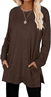 Sweaters for Women Long Sleeve Crew Neck Solid Color...