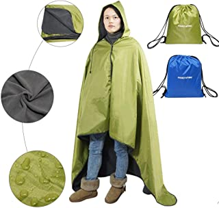 Fancywing Outdoor Stadium Blanket Waterproof Fleece Blanket Rainproof, Windproof Picnic Camping Backpacking Blanket Hooded Mat Rain Poncho Blanket Pet Blanket