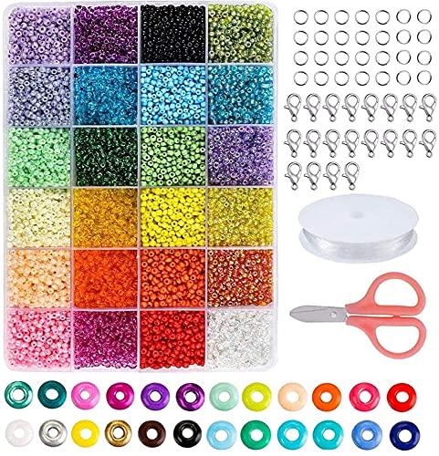 AILANDA 12000pcs Glasperlen 2 mm Mini Glasperlen zum Auffädeln Glas Perlen Set mit Box Glass Beads für DIY Armbänder Halsketten Kleiderschmuck Schmuckzubehör Kleidung