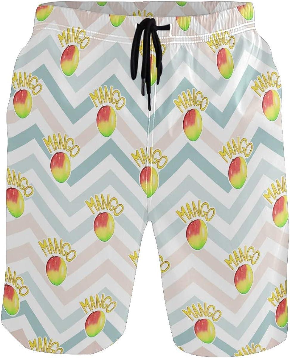Swim Trunks Mango Fruit Summer, Beach Short Beachwear for Men Boys S