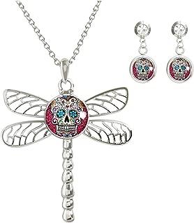 KingCow Custom Glass Image Noosa Snap Charm Women's Dragonfly Necklace Pendant 2pcs Earring Studs Jewelry Set