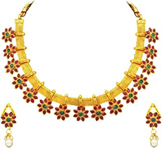 Aheli Bollywood Flower Shape Multicolor Colored Faux Stone Wedding Necklace Earrings Indian Fashion Jewelry Set for Women
