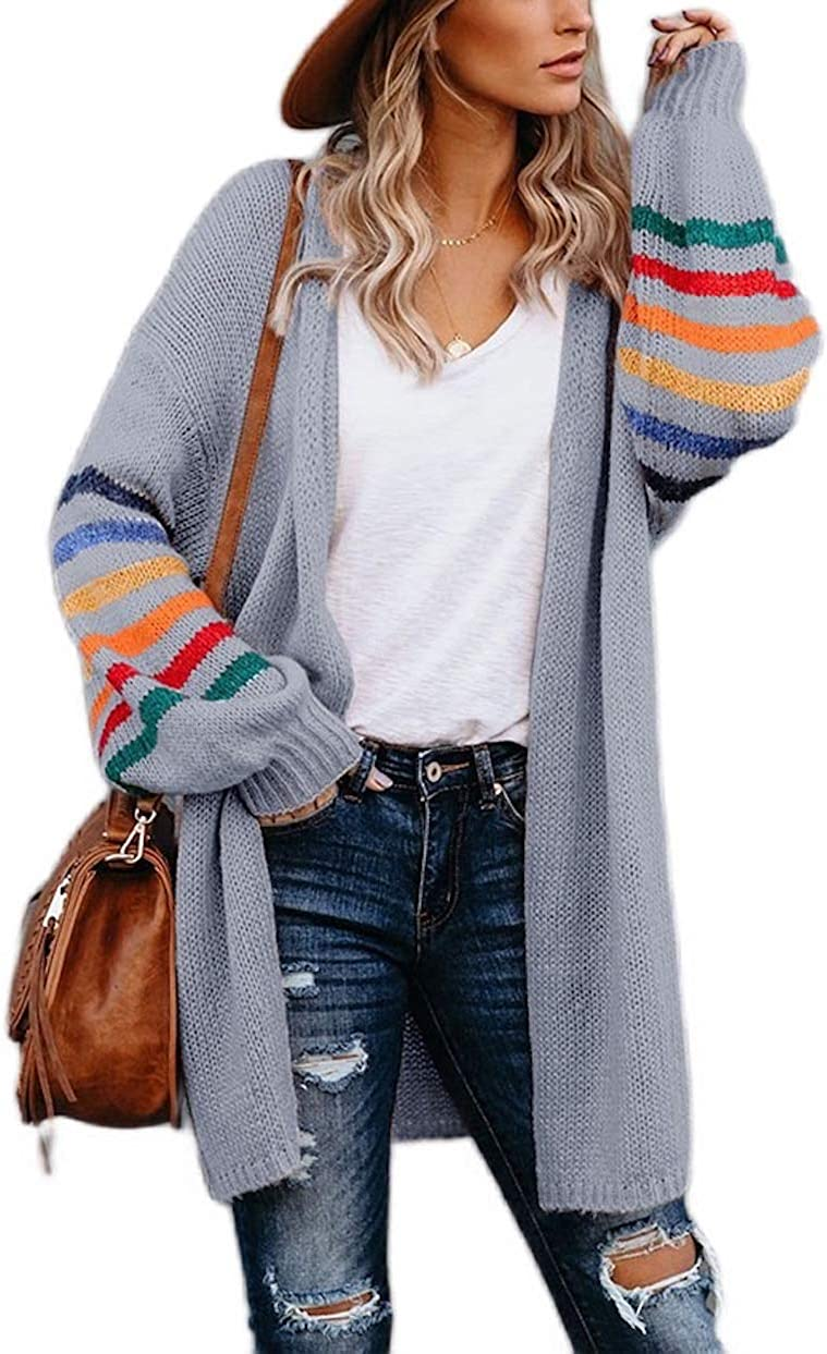 Women's Long Sleeves Open Front Color Striped Knitted Sweater Cardigan Coat Outwear Sweater