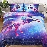 ENJOHOS Galaxy Unicorn Bedding Set Twin Size Purple Blue Space Comforter Kids Girls Sparkly Star Sky Duvet 3 Pieces Ultra Soft Durable Bedspread