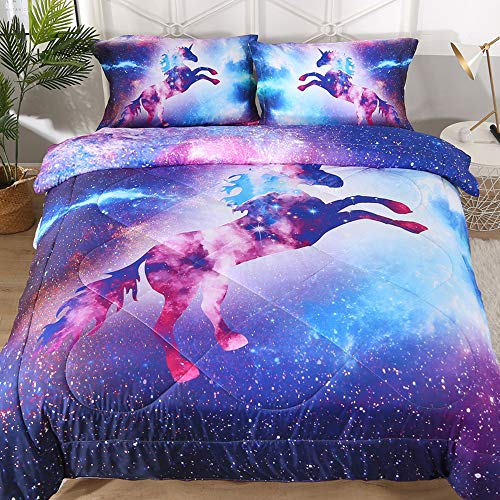 ENJOHOS 3PCS Cool Galaxy Bedding Set for Kids 3D Universe Space Comforter Sets Full Size Super Soft Starry Sky Bedding Gift for Boys and Girls (1Comforter 2 Pillow Shams)