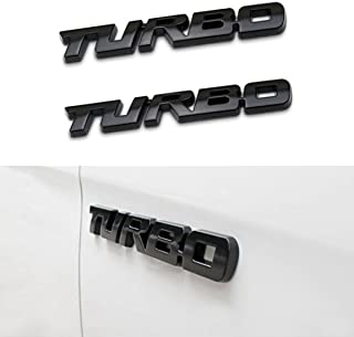 TK-KLZ 2Pcs 3D Metal TURBO Premium Car Side Fender Rear Trunk Emblem Badge Decals for JEEP BMW Dodge Mercedes Benz Chrysler Toyota Honda Nissan Kia Hyundai Chevrolet Ford (Black)