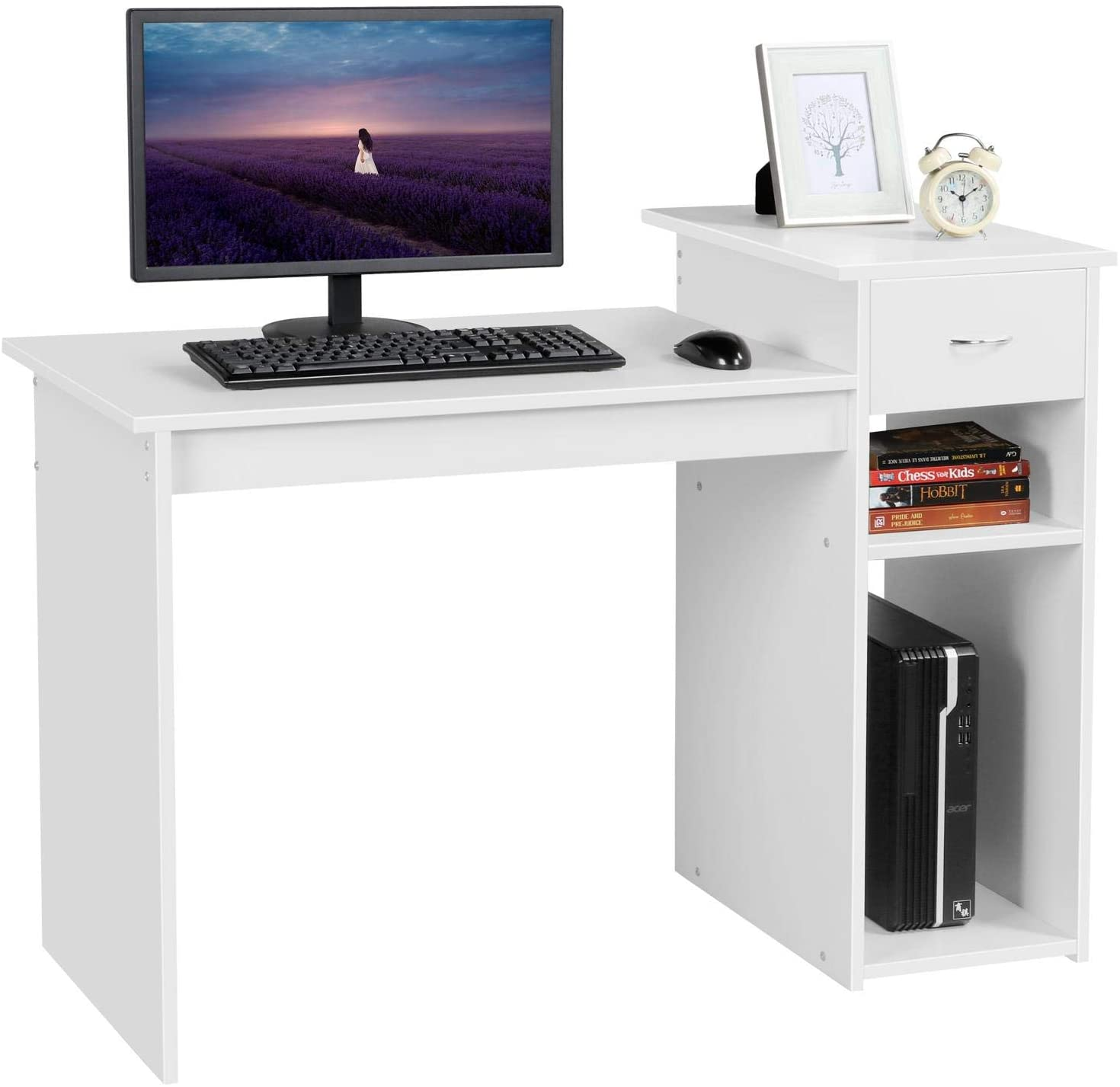 Amazon.com: Yaheetech White Compact Computer Desk Study Computer Workstation Writing PC with Drawer and Shelf for Small Spaces Bedroom Home Office Furniture : Home & Kitchen