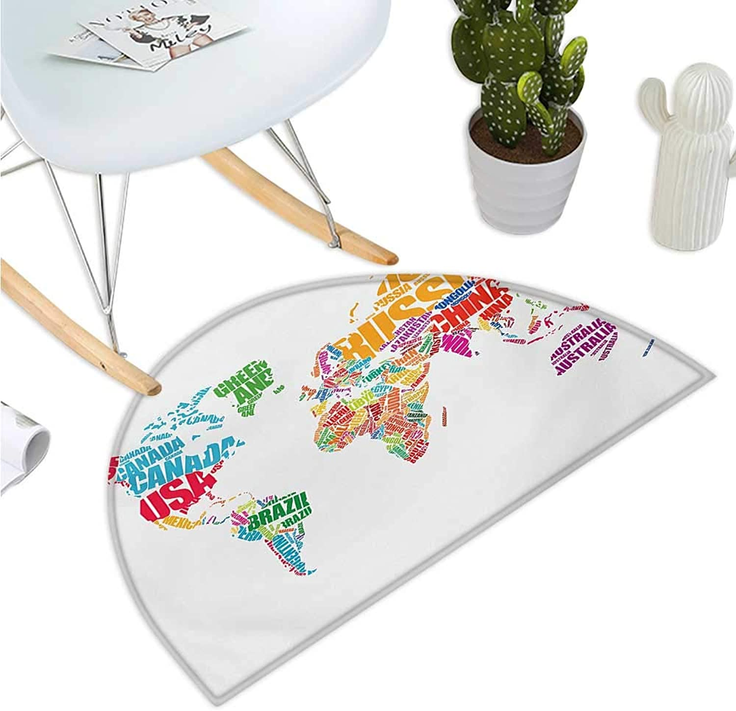World Map Semicircle Doormat World Map with Names of The Countries Europe America Africa Asia Graphic Style Halfmoon doormats H 35.4  xD 53.1  Multicolor