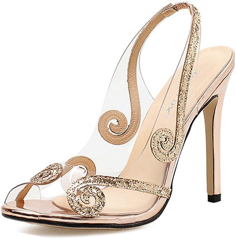 GIY Women Open Toe Clear High Heels Lucite Dress Sandals Ankle Strap Stilettos Sandal